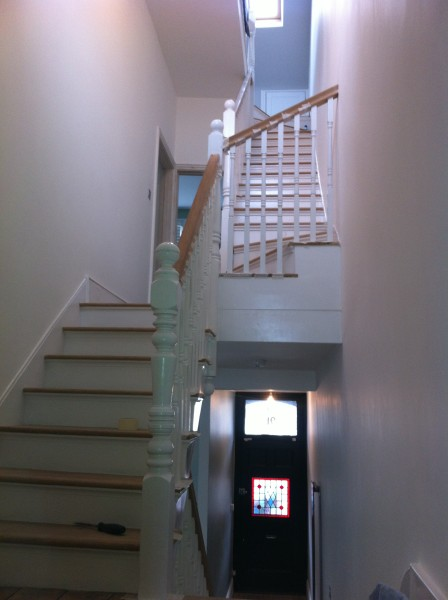 Angie stairs after